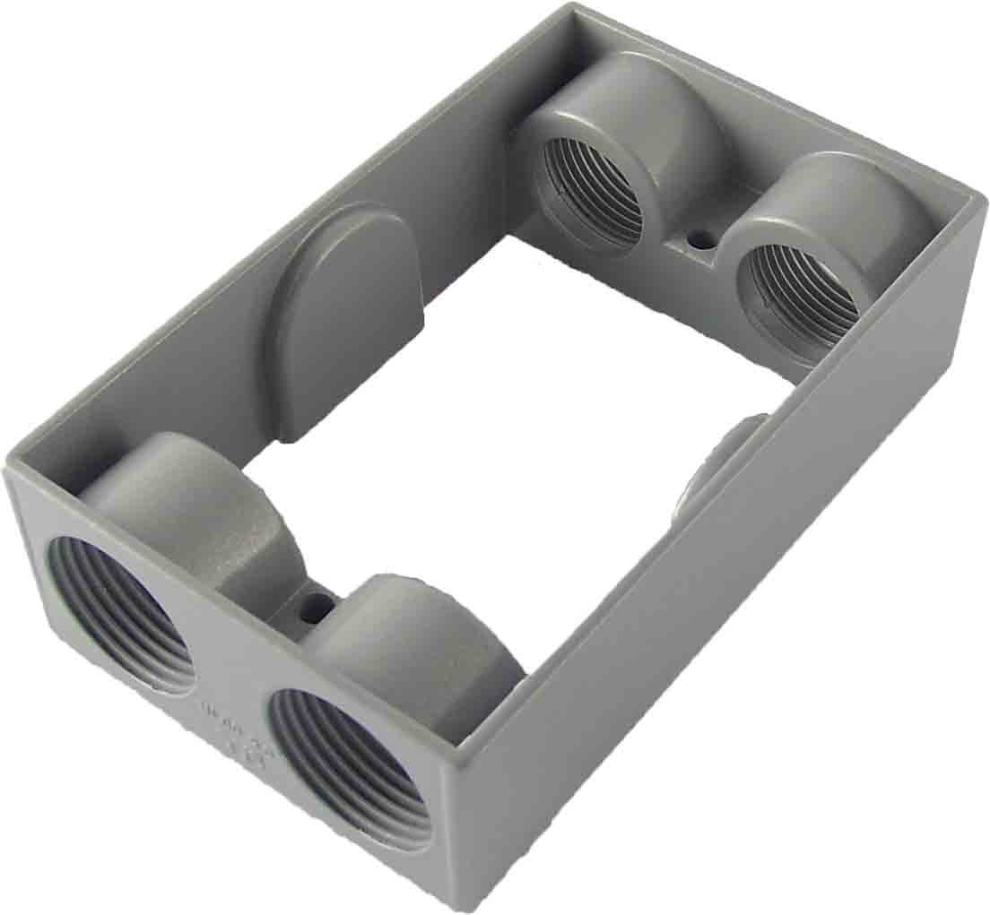 Made in USA Weatherproof Electrical Outlet Box Extension (4) 3/4'' Holes - Gray
