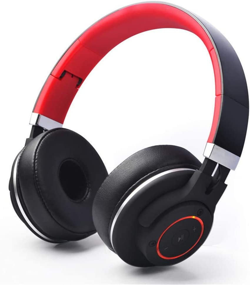 Color : Black+Red, Size : M LIUFENGLONG Gaming Headset Foldable Bluetooth Wireless Subwoofer Gaming Headset with Microphone for Gaming Computer Black Red Comfort Noise Reduction