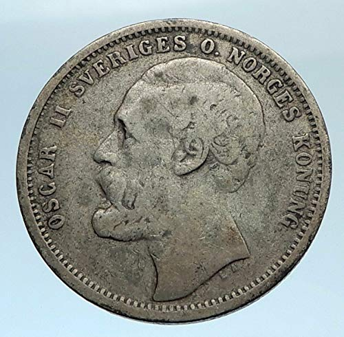 1875 unknown 1875 ST SWEDEN King Oscar II Shield Old Antique A coin Good Uncertified