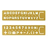 Loghot 2 Set Vintage Brass Alphabet & Number Drawing Drafting Stencil Multifunctional Metallic Painting Drawing Template