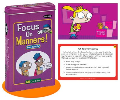 Super Duper Publications Focus on Manners Fun Deck Flash Cards Educational Learning Resource for Children by Super Duper Publications