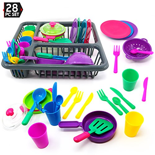 Big Mo's Toys Pretend Play Dishes Playset - Little Chef Set, Kids Serving Dishes - Play Cups, Cutlery, Ladle, Tableware, Pots and Dish Drainer, Set of 28