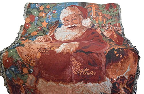 (Tache Festive Red Christmas Old St Nick Santa Claus Woven Tapestry Throw Blanket with Fringe Border, 50