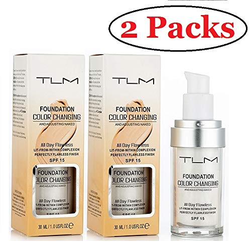 - 2 PACK TLM Concealer Cover Cream, Flawless Colour Changing Foundation Makeup, Warm Skin Tone Foundation liquid Base Nude Face Moisturizing Liquid Cover Concealer for Women and Girls
