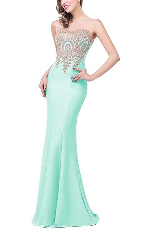 GladiolusA Vestito Lungo Maxi da Donna Vestiti Lunghi da Matrimonio  Elegante Senza Maniche Menta Verde S 262f686ba4f