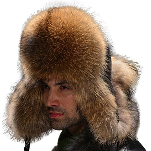 Fur Story Men's Trapper Hat with Real Fur Earmuffs Sheep Leather(Raccoon)