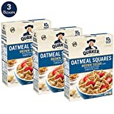 Quaker Oatmeal Squares Breakfast Cereal, Original Brown Sugar, 14.5oz Boxes (Pack of 3)