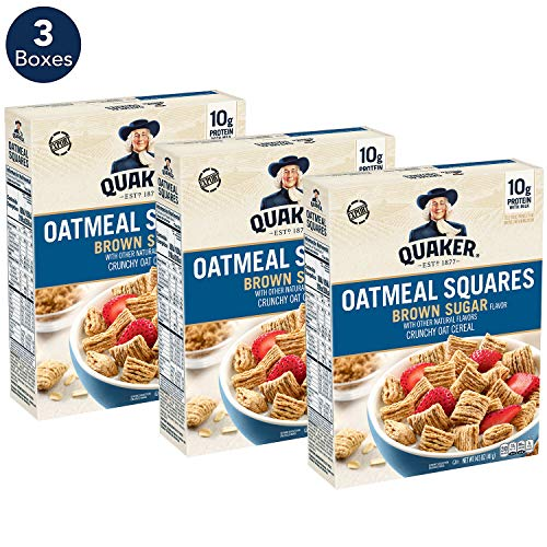 Quaker Oatmeal Squares Breakfast Cereal, Original Brown Sugar, 14.5oz Boxes (Pack of 3) (Quaker Shop)