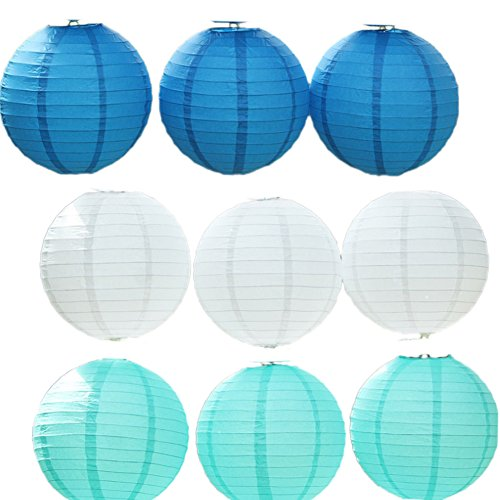 YueLian 9 Sets Chinese Party Accessory Round Paper Lanterns, White, Blue (24'' Diameter)