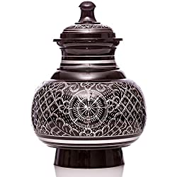 Medium Ebony Color with Silver Engraving, Engraved Series Pet Urn and Memorial - For Dogs, Cats and other pets. Accomodates Pets up to 40 Pounds