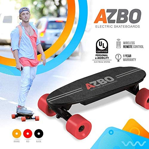 AZBO Portable Mini Electric Skateboard with Remote Control 400W Motor UL2272 Certified Motorized C9 Skateboard with Wireless Remote 11 MPH Top Speed Electric Longboard