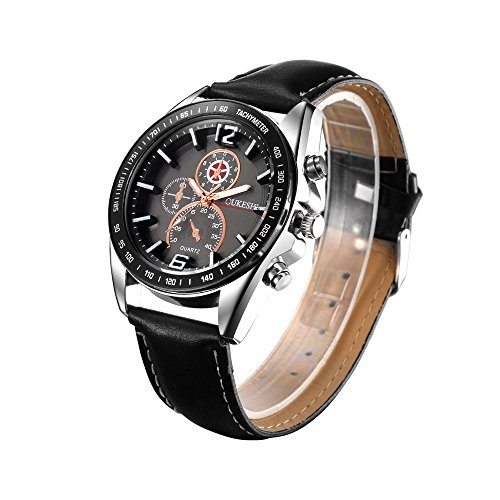 83fae914cf3 Mens Quartz Watch COOKI Clearance on Sale Unique Analog Cheap Watches  Leather Wrist Watches for Men-A18 (Black black)