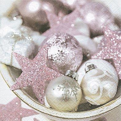Tovaglioli Stella Di Natale.20 Tovaglioli 33 X 33 Cm Natale Palline Stella Rosa D Argento Rosa