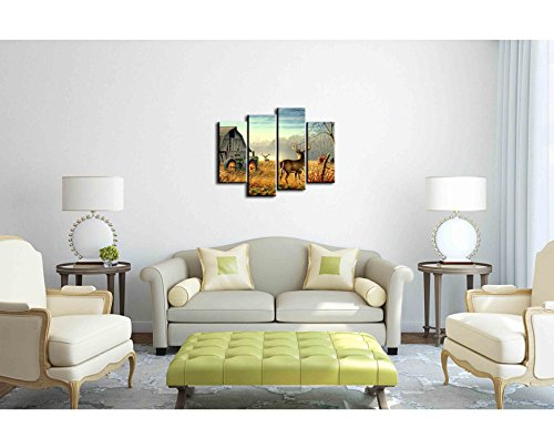 Canvas Print Wall Art Painting – 4 sets pictures of Nature Trees Fences Birds Fog Mist Deer Barn Farm Competition Paintings The Picture For Living Room Decoration City Pictures Photo Prints On Canvas