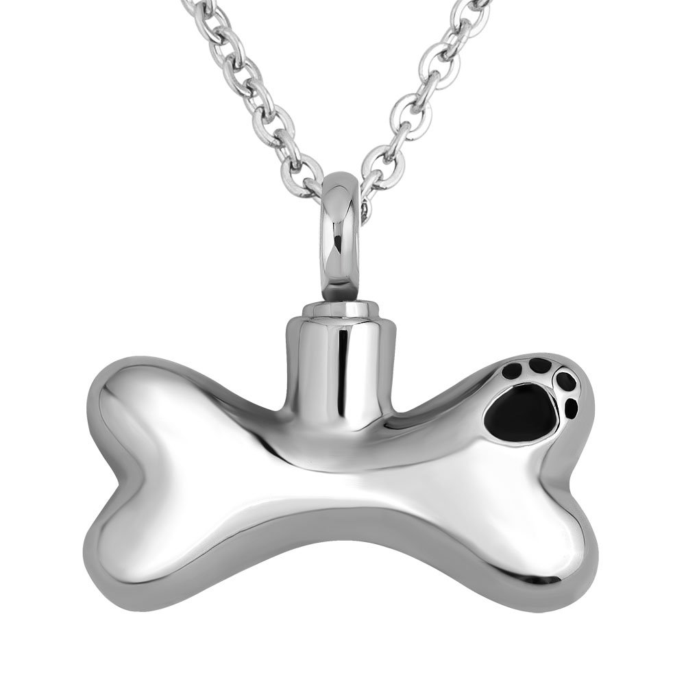 ReisJewelry Love My Dog Paw Print Urn Necklaces Pet Memorial Cremation Keepsake Ashes Holder by ReisJewelry (Image #1)