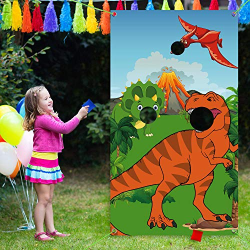 Funnlot Dinosaur Games Birthday Dinosaur Party Decorations Dino Party Activities Dinosaur Toss Games Outdoor Dino Party Games with 3 Bean Bags Dinosaur Party Supplies for Kids and Adults(T-Rex Game