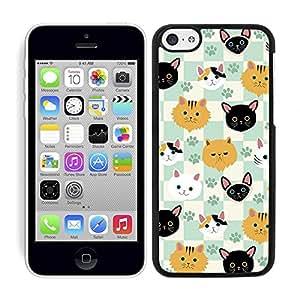 Funda carcasa para Apple iPhone 5C estampado gato gatos fondo cuadros borde negro