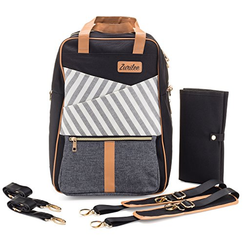 Unisex Designer Diaper Bag Backpack by Zurilee | Multi-Function Nappy Backpack - Take Child Care On the Go | Black Baby Bag Comes With Insulated Pocket, Stroller Straps and Changing (A1 Designer Wear)