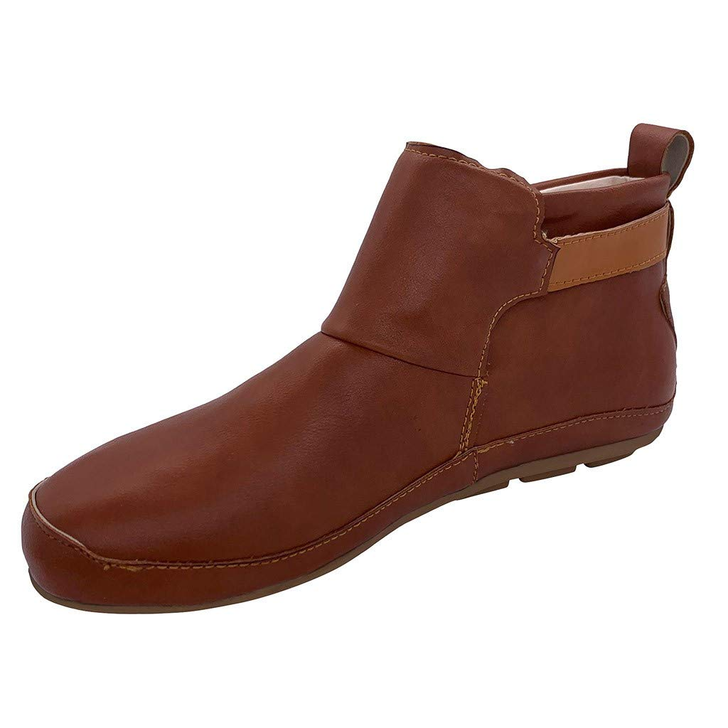 Women's Vintage Leather Bootie Flat Waterproof High Top Shoes Winter Round Toe Ankle Boots, Brown-2, 6.5-7 M US by OcEaN Shoes