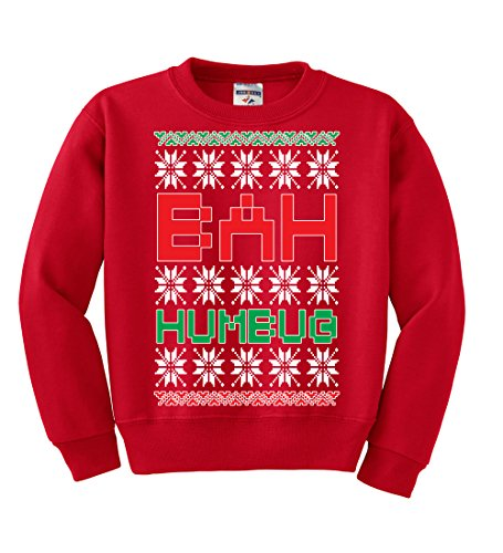 Bah Humbug | Kids Unisex Ugly Christmas Crewneck Graphic Sweatshirt, Red, Medium (Jumpers Christmas Humbug)