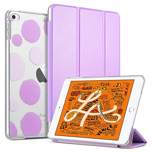 ULAK iPad Mini 4 Case, iPad Mini 5 Case Clear with Design, Slim Lightweight Trifold Stand with Translucent Frosted Back Smart Cover for iPad Mini 5th Generation 2019/Mini 4 Auto Sleep/Wake, Lavender