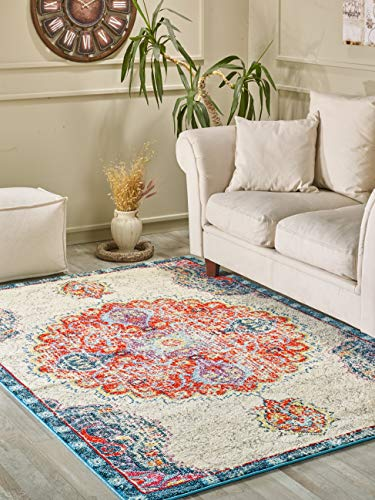 Golden Rugs Persian Area Rug 8x10 Multi Color Medallion Cream Hand Touch Vintage Distressed Abstract Traditional Texture for Bedroom Living/Dining Room 7465 Melody Collection (8x10, Cream)