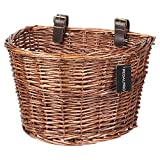 PedalPro Vintage Wicker Bicycle Basket with Brown Handlebar Straps