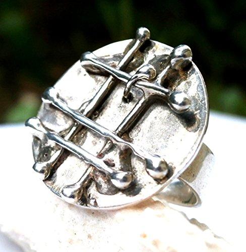 - Sterling Silver Ring, Melt Design, Melted Metalwork, Marked 925, Metalwork Ring, Statement Ring