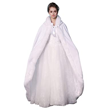 Kanrome White Long Cape with Hood Cloak Faux Fur Warm Winter Coat for  Wedding f2631c9d8