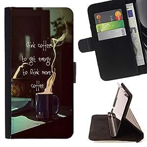 - Coffee Time Relax - - Monedero PU titular de la tarjeta de cr?dito de cuero cubierta de la caja de la bolsa FOR Apple Iphone 6 Retro Candy