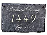 "Sassy Squirrel Beautifully Handcrafted and Customizable Slate Home Address Plaque (16""x10"" or 12""x8"") Personalized House Sign with and mounting Hardware. Improve The Curb Appeal of Your Property"