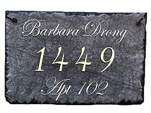 """Sassy Squirrel Beautifully Handcrafted and Customizable Slate Home Address Plaque (16""""x10"""" or 12""""x8"""") Personalized House Sign with and mounting Hardware. Improve The Curb Appeal of Your Property by Sassy Squirrel (Image #5)"""