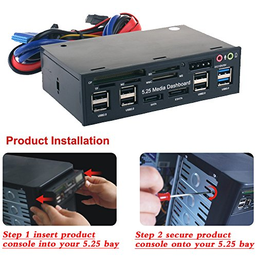 WANLONGXIN WLX-525E 5.25 Inch PC Dashboard Media Front Panel Audio, With SATA e-SATA Dual USB 3.0 6 port USB 2.0 Five-in-one Card Reader (SD/MMC / CF/MS / TF / M2) by WANLONGXIN (Image #4)
