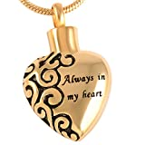 18 K Gold Engraved Cremation Jewelry Ashes Polished Pendant Urn Necklace for Ashes +Free 20 Inch Chain +Fill Kitit