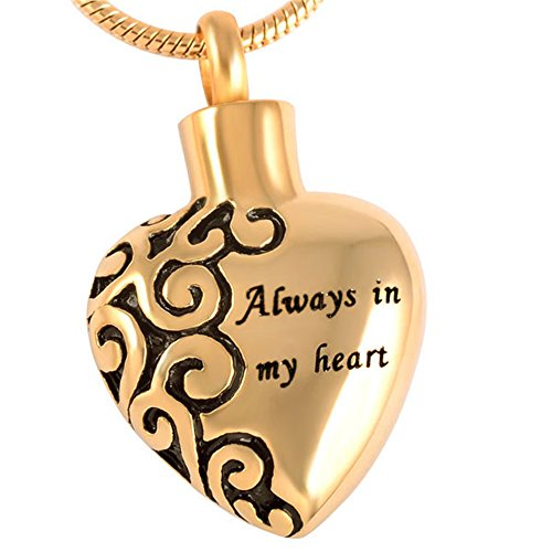 - 18 K Gold Engraved Cremation Jewelry Ashes Polished Pendant Urn Necklace for Ashes +Free 20 Inch Chain +Fill Kitit