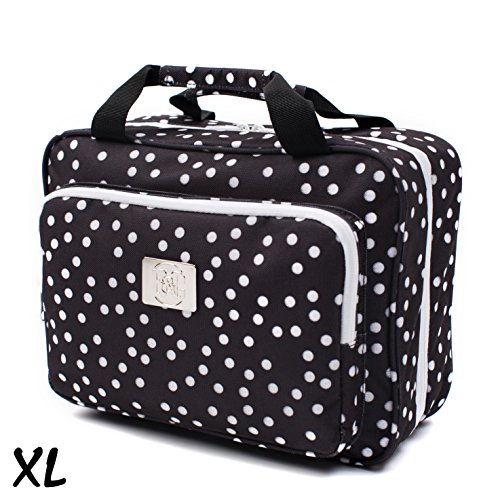 (Large Versatile Travel Cosmetic Bag - Perfect Hanging Travel Toiletry Organizer (XL Polka dot))