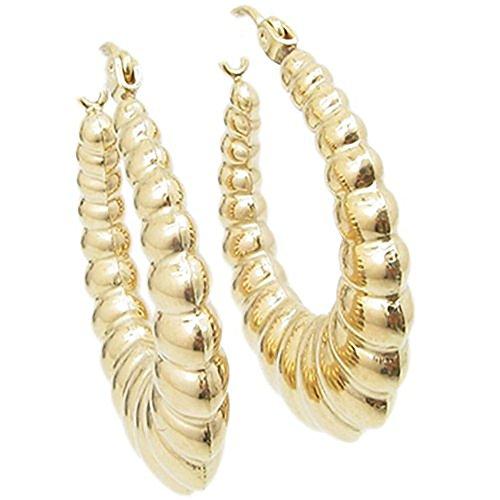 - 10k Yellow Gold Fancy puff bamboo gold hoop earrings 24 Millimeters