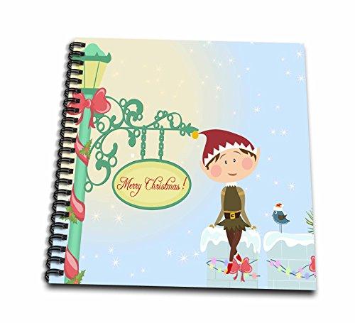 3dRose db_107001_2 Santas Helper Elf and Christmas Bluebird Sitting On Snow Ledge By Merry Xmas Decorated Lamp Post-Memory Book, 12 by (Bluebird Santa)