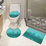 lacencn Asian Printed Bath Rug Set Various Temples above the Sea Tank in Fog Symbolic Faith Custom Pagoda Monochrome 3 Piece Toilet Cover set Turquoise
