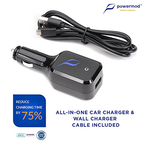 All-In-One Travel Charger Car Charger & Wall Charger in One w/ Qualcomm Quick Charge 2.0 technology for Smartphones and Tablets
