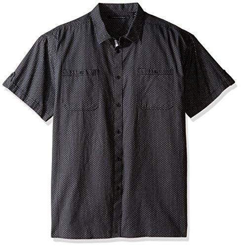 Sean John Men's Tall Shortleeve Dobby Stripe Shirt, PM Black, 3XL/Big (Stripe Dobby Classic Shirt)
