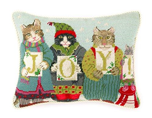 Peking Handicraft Joy Cats Needlepoint Pillow - Cat Needlepoint Pillow
