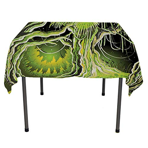 Neverland Camping Tablecloth Magic Forest Fairy Tree in The Woodland Halloween Nature Landscape Olive and Lime Green Printed Tablecloth Rectangle Tablecloth 60 by 84 inch ()