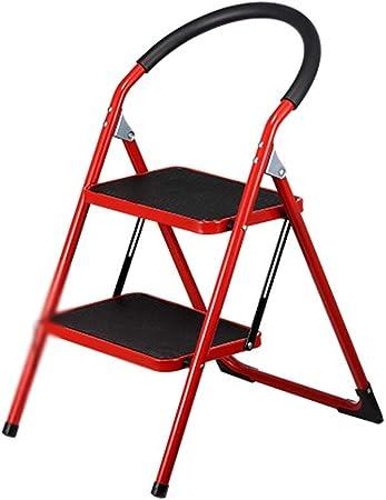SSPKTY Plegable Taburete de Paso |Pies Antideslizantes, Escalera Portátil escaleras de Tijera de Metal con Baranda, MAX.150KG -M11N (Color : Red): Amazon.es: Hogar