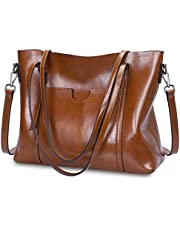 S-ZONE Women Genuine Leather Top Handle Satchel Daily Work Tote Shoulder Bag Large Capacity (Coffee)