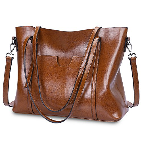 S-ZONE Women Genuine Leather Top Handle Satchel Daily Work Tote Shoulder Bag Large Capacity (Dark Brown) (Cowhide Leather Briefs)