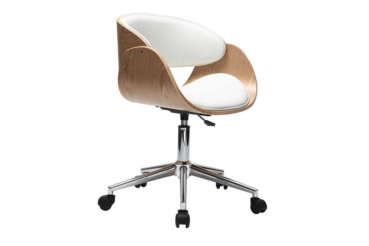 miliboo White Light Wood Modern Chair Casters BENT
