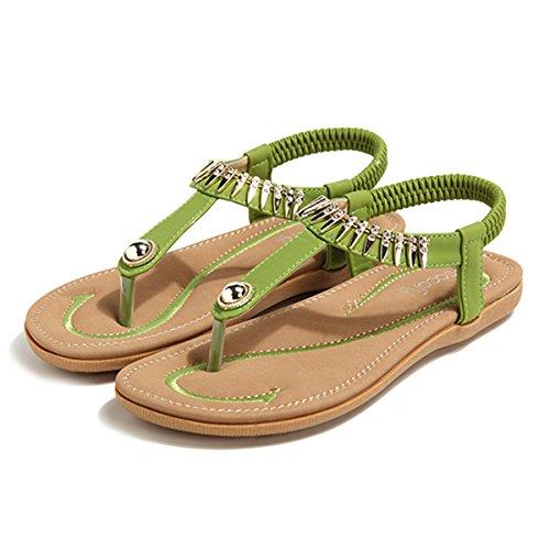 Socofy Damen Sandalen, Flip Flops Böhmische Sommer Sandals Flach Zehentrenner Stil T-Strap Offene Schuhe Strand Schuhe Grün-A 38
