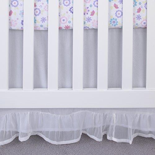 NoJo Ivory Crinkle Crib Skirt/Dust Ruffle, White, 18