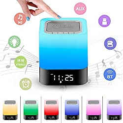 LED Night Lights Bluetooth Speaker Alarm Clock Speakerphone / TF Card / AUX-IN Supported, Touch Sensor Bedside Lamp with Warm Color Charging and Digital Calendar, Portable Wireless HiFi Music Player